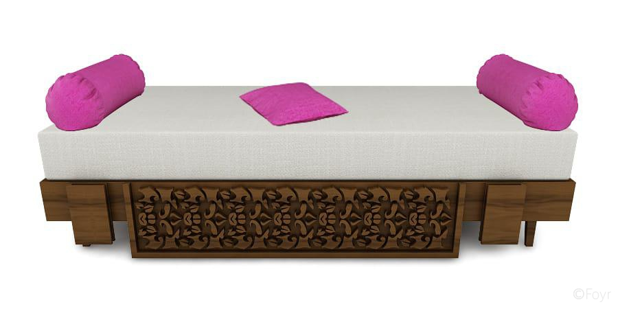 Furniture Sofa Seater Ethnic Solid Wood Divan Off White Jfss.