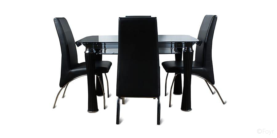 Glass Top Dining Table 4 Seater modern round glass table  : products2FJFTD41111392Fdetail2FFurniture Dining 4SeaterDiningTableSets 4 Seater Dining Table with Black Curved Glass Top 1 JFTD4111139 from hotrodhal.com size 900 x 450 jpeg 55kB